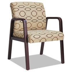 Alera Reception Lounge WL Series Guest Chair, 24.21'' x 26.14'' x 32.67'', Tan Seat/Tan Back, Mahogany Base