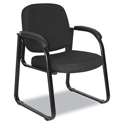 Alera Genaro Series Half-Back Sled Base Guest Chair, 24.63 in x 26.63 in x 34 in, Black Seat/Black Back, Black Base