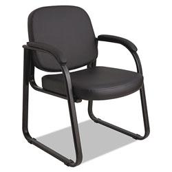 Alera Genaro Series Half-Back Sled Base Guest Chair, 24.63 in x 26.63 in x 34 in, Black Seat/Black Back, Black Base