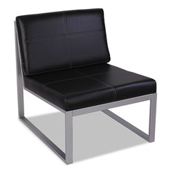 Alera Ispara Series Armless Chair, 26.38 in x 31.13 in x 30 in, Black Seat/Black Back, Silver Base