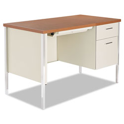 Alera Single Pedestal Steel Desk, Metal Desk, 45.25w x 24d x 29.5h, Cherry/Putty