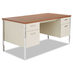 Alera Double Pedestal Steel Desk, Metal Desk, 60w x 30d x 29.5h, Cherry/Putty