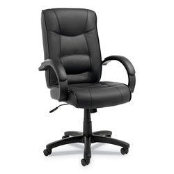 Alera Strada Series High-Back Swivel/Tilt Top-Grain Leather Chair, Supports up to 275 lbs, Black Seat/Black Back, Black Base