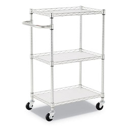 Alera 3-Shelf Wire Cart with Liners, 24w x 16d x 39h, Silver, 500-lb Capacity