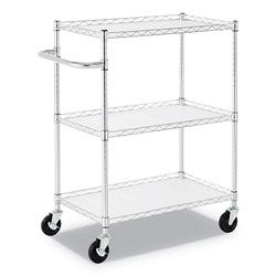 Alera 3-Shelf Wire Cart with Liners, 34.5w x 18d x 40h, Silver, 600-lb Capacity