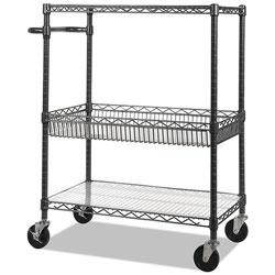 Alera Three-Tier Wire Cart with Basket, 34w x 18d x 40h, Black Anthracite