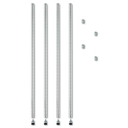 Alera Stackable Posts For Wire Shelving, 36 in High, Silver, 4/Pack