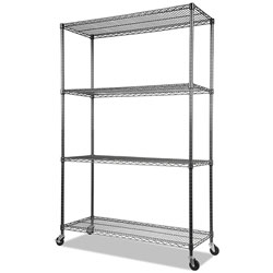Alera NSF Certified 4-Shelf Wire Shelving Kit with Casters, 48w x 18d x 72h, Black Anthracite