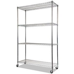 Alera NSF Certified 4-Shelf Wire Shelving Kit with Casters, 48w x 18d x 72h, Silver