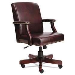 Alera Traditional Series Mid-Back Chair, Supports up to 275 lbs, Oxblood Burgundy Seat/Oxblood Burgundy Back, Mahogany Base