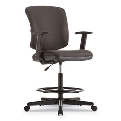 Alera Everyday Task Stool, 31.38 in Seat Height, Supports up to 275 lbs, Black Seat/Black Back, Black Base