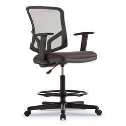Alera Everyday Task Stool, 29.5 in Seat Height, Supports up to 275 lbs, Black Seat/Black Back, Black Base