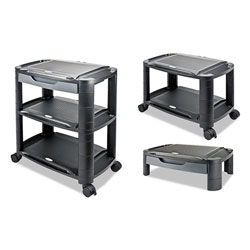 Alera 3-in-1 Storage Cart and Stand, 21.63w x 13.75d x 24.75h, Black/Gray