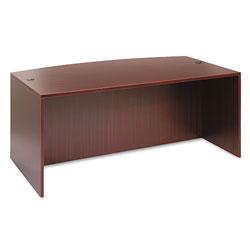 Alera Valencia Bow Front Desk Shell, 71w x 35.5d to 41.38d x 29.63h Mahogany