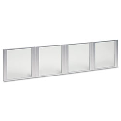 Alera Glass Door Set With Silver Frame For 72 in Wide Hutch, 17w x 16h, Clear, 4 Doors/Set