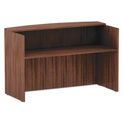 Alera Valencia Series Reception Desk with Counter, 71w x 35.5d x 42.5h, Modern Walnut