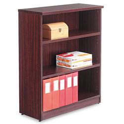 Alera Valencia Series Bookcase, Three-Shelf, 31 3/4w x 14d x 39 3/8h, Mahogany