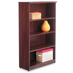 Alera Valencia Series Bookcase, Four-Shelf, 31 3/4w x 14d x 54 7/8h, Mahogany