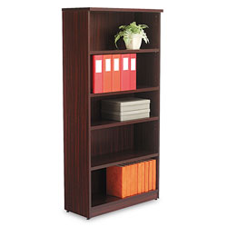 Alera Valencia Series Bookcase, Five-Shelf, 31 3/4w x 14d x 64 3/4h, Mahogany