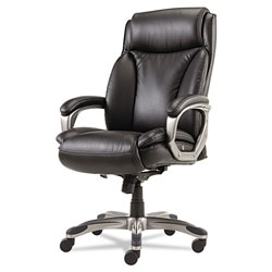 Alera Veon Series Executive High-Back Leather Chair, Supports up to 275 lbs, Black Seat/Black Back, Graphite Base