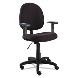 Alera Essentia Series Swivel Task Chair with Adjustable Arms, Supports up to 275 lbs, Black Seat/Black Back, Black Base