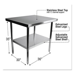 Alera NSF Approved Stainless Steel Foodservice Prep Table, 36 x 30 x 35, Silver