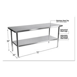 Alera NSF Approved Stainless Steel Foodservice Prep Table, 72 x 30 x 35, Silver