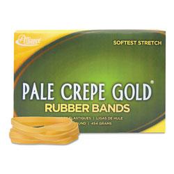 Alliance Rubber Pale Crepe Gold Rubber Bands, Size 64, 0.04 in Gauge, Crepe, 1 lb Box, 490/Box