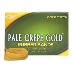 Alliance Rubber Pale Crepe Gold Rubber Bands, Size 117B, 0.06 in Gauge, Crepe, 1 lb Box, 300/Box