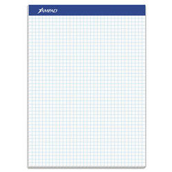 Ampad Quad Double Sheet Pad, 4 sq/in Quadrille Rule, 8.5 x 11.75, White, 100 Sheets