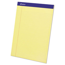 Ampad Perforated Writing Pads, Narrow Rule, 8.5 x 11.75, Canary, 50 Sheets, Dozen