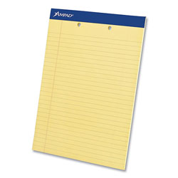 Ampad Perforated Writing Pads,Wide/Legal Rule, Canary Sheets, 2-Hole Top Punched, 8.5 x 11.75, 50 Sheets, Dozen