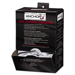Anchor Lens Cleaning Towelettes, 5 in x 8 in, White, 100/Box