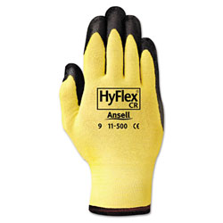 Ansell HyFlex Ultra Lightweight Assembly Gloves, Black/Yellow, Size 10, 12 Pairs