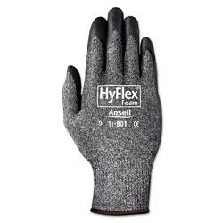 Ansell HyFlex Foam Gloves, Dark Gray/Black, Size 10, 12 Pairs
