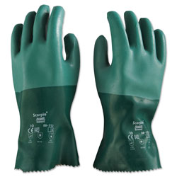 Ansell Scorpio Neoprene Gloves, Green, Size 10