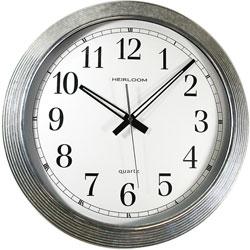 "Ampad Wall Clock, Galvanized Metal, 16"", Silver"