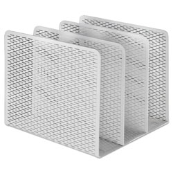 Artistic Office Products Urban Collection Punched Metal File Sorter, 3 Sections, Letter Size Files, 8 in x 8 in x 7.25 in, White