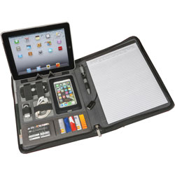 Artistic Office Products Padfolio, w/ Power Bank, 10-1/4 inWx1-1/10 inLx13-1/5 inH, Gray