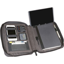 Artistic Office Products Padfolio, w/ Power Bank, 8-1/2 inWx1-1/2 inLx11 inH, Heather Gray