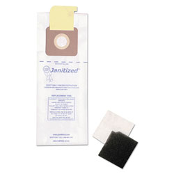 Janitized Vacuum Filter Bags Designed to Fit Carpet Pro/CleanMax/Fuller/Tennant, 100/CT