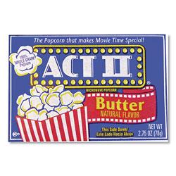 Act II® Microwave Popcorn, Butter, 2.75 oz Bag, 36/Carton