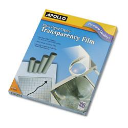 Apollo Plain Paper B/W Transparency Film, Letter, Clear, 100/Box