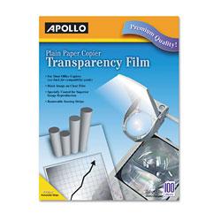 Apollo Plain Paper B/W Laser Transparency Film w/Handling Strip, Letter, Clear, 100/Box