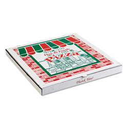 ARVCO Containers Corrugated StoreFront Pizza Boxes, Kraft, 20 x 20, White/Red/Green, 25/Carton