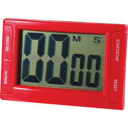 Ashley Digital Timer, Magnetic Backing, 2 inWx3/4 inLx3-3/4 inH, Red