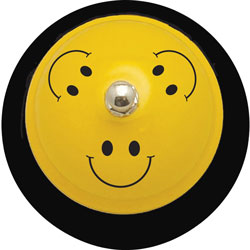 Ashley Call Bell, Smile Face, 3 inWx3 inLx2-1/4 inH, Yellow/Black