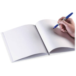 Ashley Hardcover Blank Book, 8-1/2 in x 11 in, 28Pgs, White