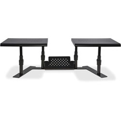 Allsop Dual Monitor Stand, Steel, 32 inWx14 inDx6-1/10 in-8-2/5 in, Black
