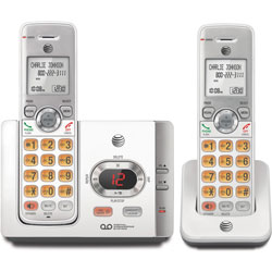 AT&T Cordless Phone, w/2 Handsets, 5-3/5 inx3-2/5 inx5-3/5 in, Silver